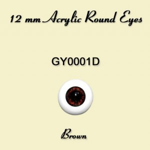 12 mm Brown Acrylic Round Eyes - GY0001D