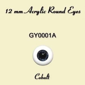 12 mm Cobalt Acrylic Round Eyes - GY0001A