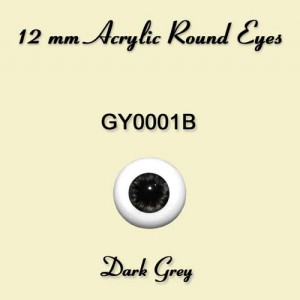 12 mm Dark Grey Acrylic Round Eyes - GY0001B
