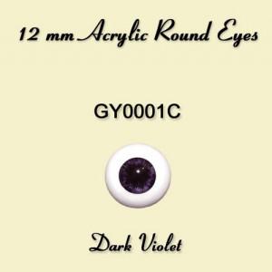 12 mm Dark Violet Acrylic Round Eyes - GY0001C
