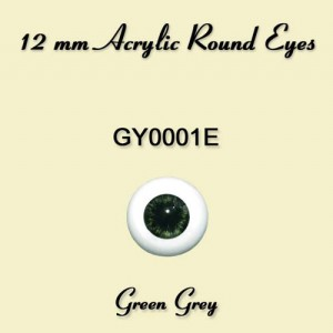 12 mm Green Grey Acrylic Round Eyes - GY0001E