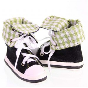 Black & Green Canvas Sneaker - WH0030A