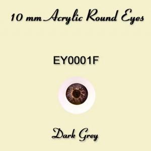 10mm Dark Grey Round Acrylic Eyes - EY0001F