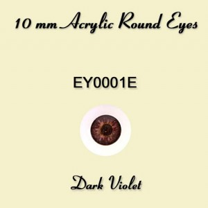 10mm Dark Violet Round Acrylic Eyes - EY0001E