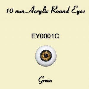 10mm Green Round Acrylic Eyes - EY0001C