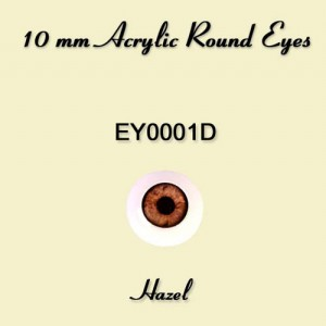 10mm Soft Hazel Round Acrylic Eyes - EY0001D