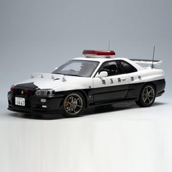 [AUTOART] 1:18 NISSAN SKYLINE GTR R34 POLICE CAR (LM 6000PCS) (77351) / Nissan Skyline / model car / Die-cast