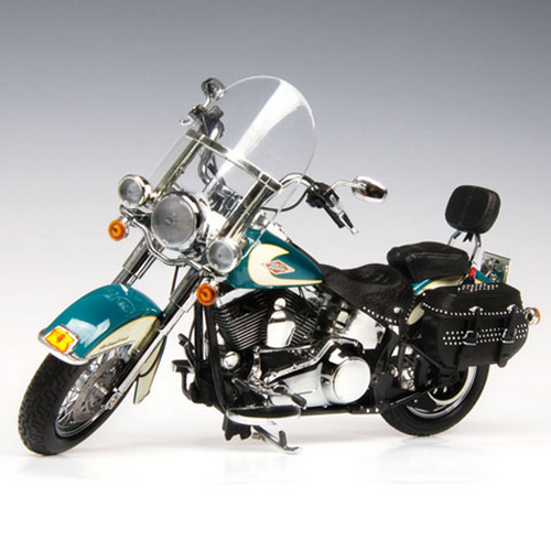 HIGHWAY61] 1:12 2009 Harley Davidson FLSTC HERITAGE SOFTAIL CLASSIC DEEP TURQUOISE/ANTIQUE WHITE - 81074