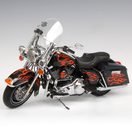 [HIGHWAY61] 1:12 2009 H-D FLHR ROAD KING BLACK WITH EDGE FLAME - 81084